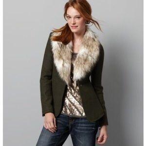 Ann Taylor Loft Wool Blazer Fur Collar Sz 2